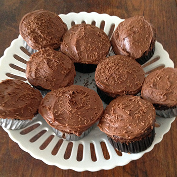 Chocolate cupcakes with brown butter frosting