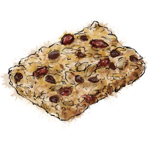 Flapjack With Chocolate And Cherries