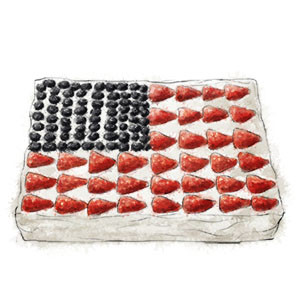 Flag Cake illustration for 4th of july traditional flag cake rec
