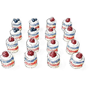 Flag Cakes Square for 4th July