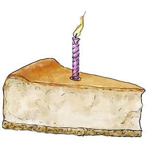 Birthday cheesecake illustration for baked cheesecake recipe